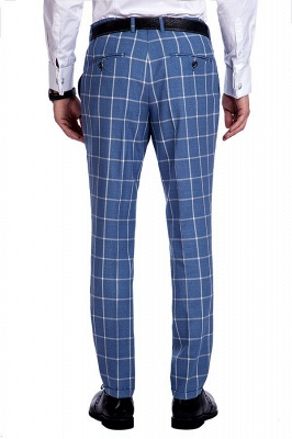 Blue Windowpane Single Breasted Slim Fit Classic Suit | Peaked Lapel Made to Measure Tuxedos for my Quince_9