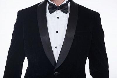 Cuello de terciopelo negro traje premium personalizado para hombre | El último traje de boda del novio del botón del dise_o uno_6