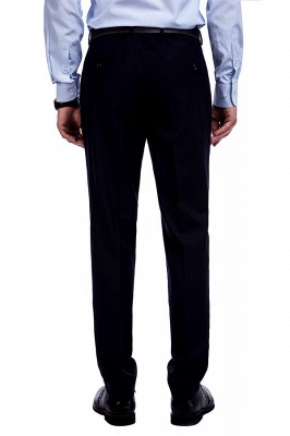 Fashion Navy Blue Herringbone Custom Made Business Chambelanes Tuxedos | Single Breasted 3 Pocket Tailored Suit For Men_9
