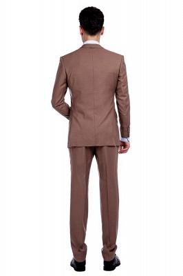 Traje de negocios a medida con solapa de pecho cruzado marrón claro | Traje de hombre de moda 2019 de alta calidad con 3 bolsillos_3