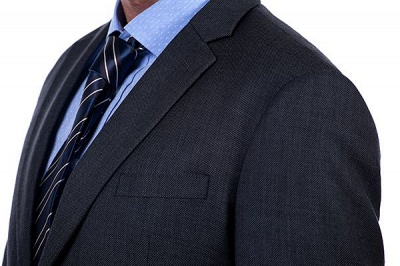 Gris oscuro 2 bolsillos trajes a medida delgados Traje casual de solapa | con muescas Personalizar esmoquin de boda_5