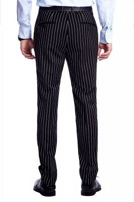 Tailor Hand Made White Stripes Business Suit for Men | Latest Design Peak Lapel Single Breasted Slim Fit Suit_9
