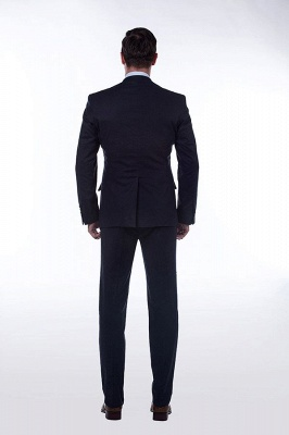 Dark Navy Peak Lapel Single Breasted Chambelanes Tuxedos | Premium Wool Three-Pieces Back Vent Customize suits_4