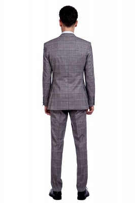 Modern Grey Checks Two Button Custom Formal quinceanera Chambelanes Tuxedos | Single Breasted Peak Lapel Business Quinceanera Tuxedos for Chambelanes_3
