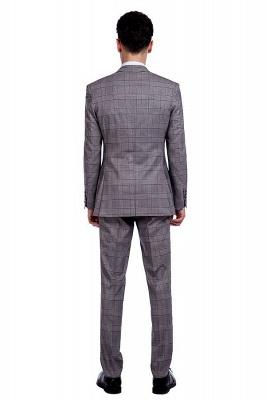 Modern Gris Checks Two Button Custom Formal Wedding Men Trajes | Solo pecho pico solapa negocio novio boda_3