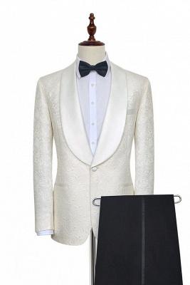 Traje de boda a medida de Jacquard blanco puro para el novio | Nuevo traje formal de un botón con botonadura simple para hombres guapos_1