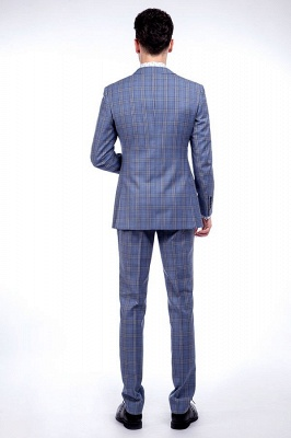 Wool Blue Checked Single Breasted Tailored Suit For Men | Stylish Design Notched Lapel Slim Fit Chambelanes Tuxedos_3