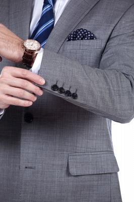 Gris elegante dise_o pico solapa trajes de los hombres | Traje de boda de dos bolsillos a medida_7
