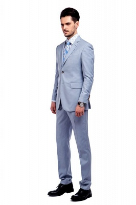 Fashion Light Blue Peaked Lapel Wool Customized Tuxedos for my Quince  | Three Pockets Single Breasted Quinceanera Tuxedos_2