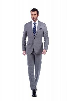 Gris elegante dise_o pico solapa trajes de los hombres | Traje de boda de dos bolsillos a medida_1