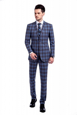 New Wool Slim Fit Purple Checks Suit | Popular Notched Lapel Single Breasted 2 Buttons Best Men Chambelanes_1