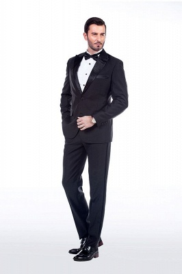 Popular Solid Black Stain Designs Fit Suit | Three Pockets Peaked Lapel Quinceanera Tuxedos_3