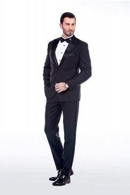 Sólidas populares trajes de novio de boda | Tres bolsillos de solapa pico manchas negras_3