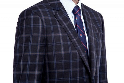 Wool Single Breasted Dark Grey Blue Plaid Chambelanes Tuxedos | Latest Design Notched Lapel Two Button Chambelanes Tuxedos_5