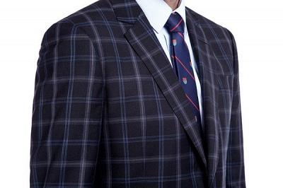 Traje de hombre de lana escocesa azul marino de un solo pecho gris oscuro | Traje de boda de dos botones con dise_o de solapa con muesca_5