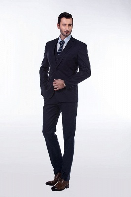 Dark Navy Peak Lapel Single Breasted Chambelanes Tuxedos | Premium Wool Three-Pieces Back Vent Customize suits_3