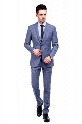 Wool Blue Checked Single Breasted Tailored Suit For Men | Stylish Design Notched Lapel Slim Fit Chambelanes Tuxedos_2