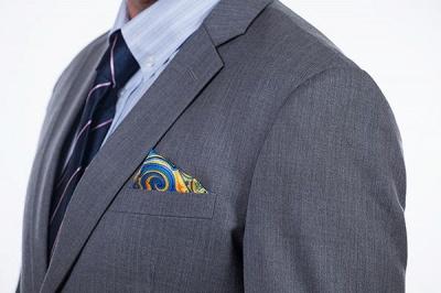 Nuevo dise_o de dos botones de un solo pecho traje personalizado | Alta calidad 2 piezas gris pico solapa novio_6