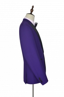 Fashion Purple Single Breasted Custom Made Chambelanes Tuxedos | Peak lapel 2 Pocket Tailored Quinceanera Tuxedos for Chambelanes  3 Pieces Set_4