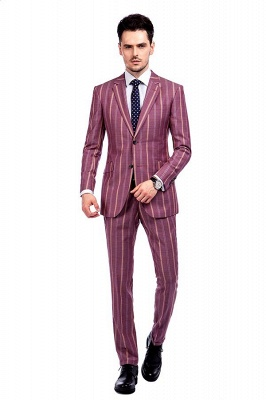 Dark Pink Checks Single Breasted Peaked Lapel Tuxedos | New Suit Formal Suit for Handsome Men_1