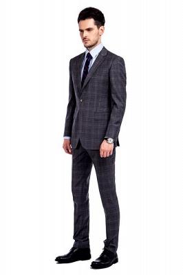 Traje a cuadros de primera calidad a medida en gris para hombres | Pocket solo traje de boda de pecho_2