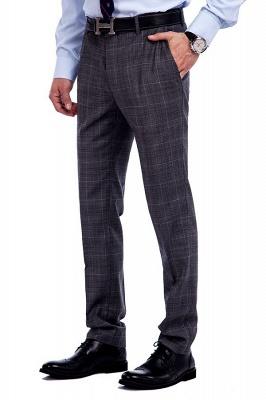 Traje a cuadros de primera calidad a medida en gris para hombres | Pocket solo traje de boda de pecho_8