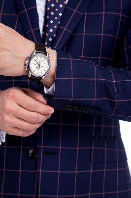 Recién azul marino cheques dos botones por encargo traje | Traje de novio de pana de un solo pecho y corte_6