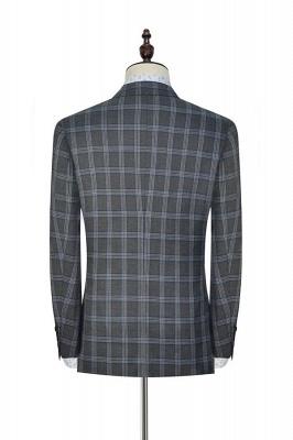 Nueva llegada Traje de tres piezas de solapa gris oscuro | gran enrejado pico para formal de 3 bolsillos traje de boda de un solo pecho para los hombres_5