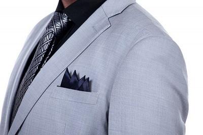 Traje Formal de Sola solapa con entallado de punto cruzado | Esmoquin de boda por encargo gris claro_6