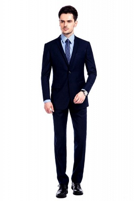 Navy Blue Notched Lapel 3 Pocket Premium Suit for Men | New Single Breasted Slim Fit Best GroomsChambelanes Tuxedos_1