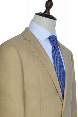Light Brown Linen Notched Lapel Casual Suit For Men | Fashion Three Pockets Single Breasted Quinceanera Tuxedos_2