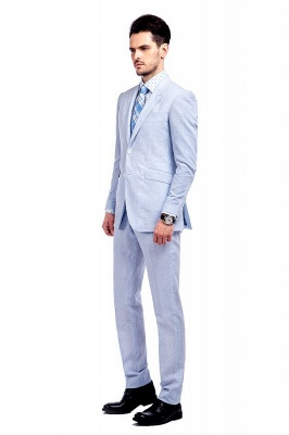Blue Stripes Single Breasted quinceanera Groom Tuxedos | Peaked Lapel Two Buttons Tailor Made Causal Suit for Men_2