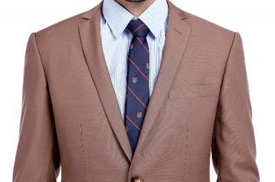 Traje de negocios a medida con solapa de pecho cruzado marrón claro | Traje de hombre de moda 2019 de alta calidad con 3 bolsillos_4