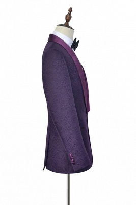 Hot Recommed Deep Purple Jacquard One Button Customized Tuxedos for my Quince  | Modern Shawl Collar Single Breasted Quinceanera Tuxedos_4