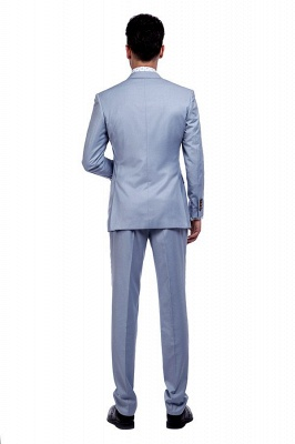 la solapa enarbolada por encargo Traje a medida azul claro | Tres bolsillos trajes de novio de boda de pecho único_3