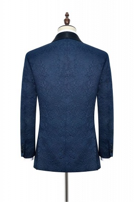 Navy Blue Popular Jacquard Custom Luxury Suit | Single Breasted One Button Quinceanera Tuxedos for Chambelanes_6
