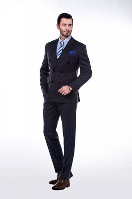 Double Breasted Stripe Tailoring Suit | Fashion Peak Lapel 3 Pockets Chambelanes Tuxedos For Men_1