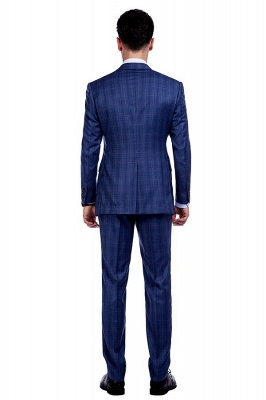 Nueva llegada Premium Blue Checks traje de lana para hombre | Moderno Vent Personalizado traje de boda de un solo pecho_3