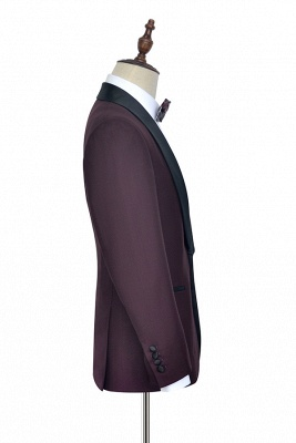 Maroon Single Breasted One Button Customized Tuxedos for my Quince  | Classic Two Pocket Shawl Collar Wool Quinceanera Suits_4