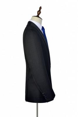 Recién negro traje de chaquetas de jacquard con cuadrados peque_o traje a medida | Traje de Boda _nico con Botones Un Solo Pecho para Novio_4