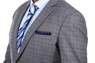 Morderno Solapa pico Gris Traje de hombre a cuadros | 3 bolsillos personalizado traje de la boda de un solo pecho_4