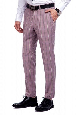 New Tailor Made Light Pink Plaid Chambelanes Tuxedos | 3 Pockets Single Breasted Slim Bespoke Suits_8