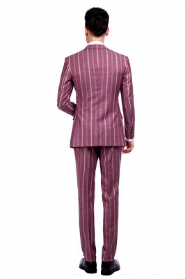 Dark Pink Checks Single Breasted Peaked Lapel Tuxedos | New Suit Formal Suit for Handsome Men_3