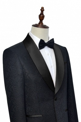 Pure Black Jacquard Shawl Collar One Button Customized Tuxedos for my Quince  | New Arrival 3 Pockets Single Breasted Slim Fit Chambelanes Suit_4