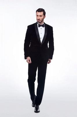 Cuello de terciopelo negro traje premium personalizado para hombre | El último traje de boda del novio del botón del dise_o uno_3
