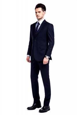Fashion Navy Blue Herringbone Custom Made Business Chambelanes Tuxedos | Single Breasted 3 Pocket Tailored Suit For Men_3