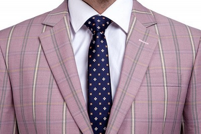 New Tailor Made Light Pink Plaid Chambelanes Tuxedos | 3 Pockets Single Breasted Slim Bespoke Suits_4