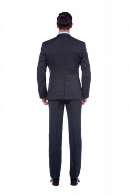 Dark Grey 2 Pockets Slim Bespoke Suits | Casual Notched Lapel Suit Customize Quinceanera Tuxedos_3