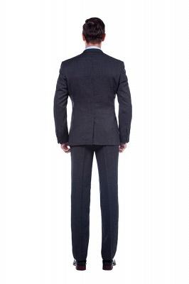 Gris oscuro 2 bolsillos trajes a medida delgados Traje casual de solapa | con muescas Personalizar esmoquin de boda_3