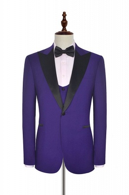 Fashion Purple Single Breasted Custom Made Chambelanes Tuxedos | Peak lapel 2 Pocket Tailored Quinceanera Tuxedos for Chambelanes  3 Pieces Set_2